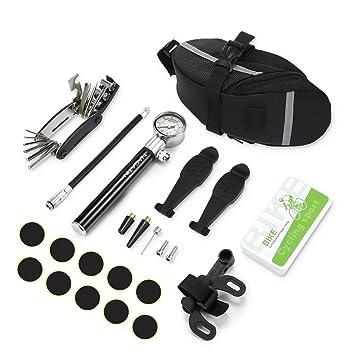 NACATIN Herramientas de Reparación Neumáticos de Bicicleta, 16 en 1 Herramientas de Bicicleta Multifuncionales con Mini Bomba de Bici, Kits de Reparación como Parches y Palancas para Neumáticos: Amazon.es: Deportes y aire
