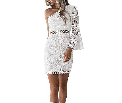 d6cdaa1e41a7e Sexy Hollow Out Dress Women Elegant White Lace Dress One Shoulder ...