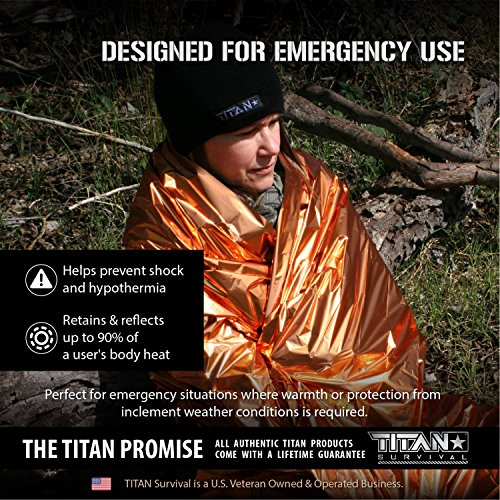 Titan Two-Sided Mylar Emergency Survival Space Blankets, 5-Pack | Safety-Orange (27-000002) by Titan Paracord (Image #2)