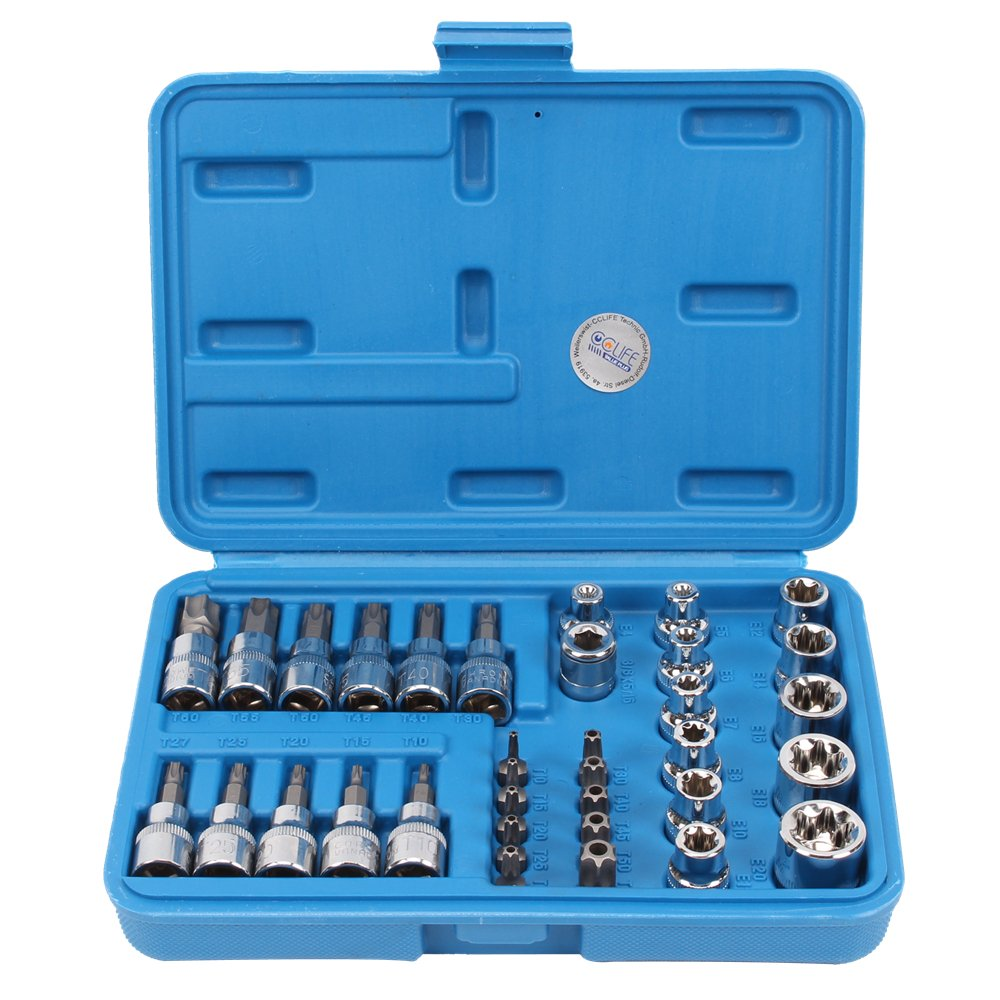 34 pcs T-Star Torx Bit and Socket Tool Set CRV 5/16' 3/8' CCLIFE