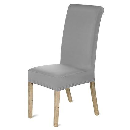 Romote - 4 Fundas elásticas para sillas de Licra extraíbles para Comedor, Hotel, Banquete, Ceremonia (Gris)