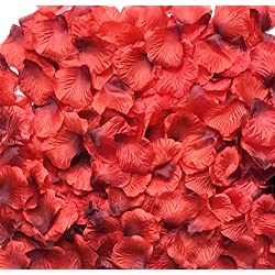 Acerich 3000 Pcs Dark-Red Artificial Silk Rose Petals Fake Flower Wedding Bridal Home Party Decor