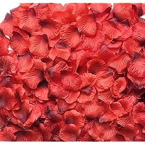 Acerich 3000 PCS Dark-Red Artificial Silk Rose Petals Fake Flower Petals for Wedding Flower Decoration, Wedding Bridal Decoration, Home Party Decor 1