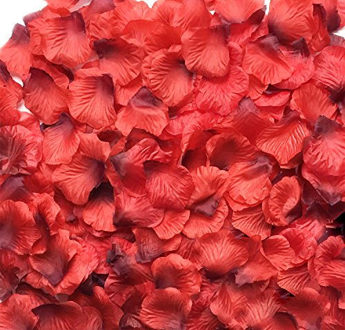 Acerich 3000 PCS Dark-Red Artificial Silk Rose Fake Petals Flower, Wedding Bridal, Home Party Decor