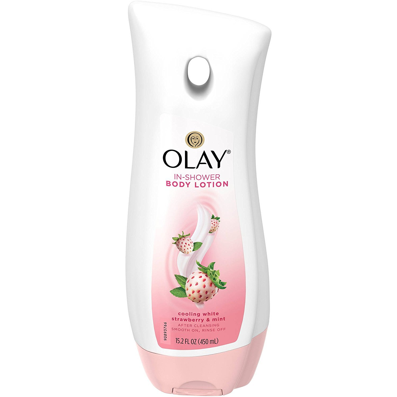 Olay In-Shower Body Lotion - Cooling White Strawberry & Mint - Net Wt. 15.2 FL OZ (450 mL) Per Bottle - One (1) Bottle