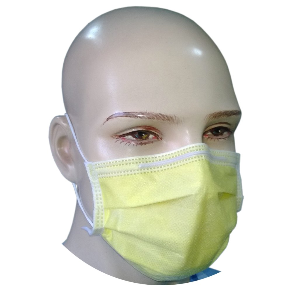 4-ply Mask Surgical 50 Loop Yellow Ear Filtra Pcs Face