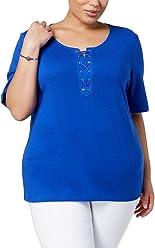 6a6dab0e81de93 Karen Scott Womens Plus Cotton Lace-Up T-Shirt