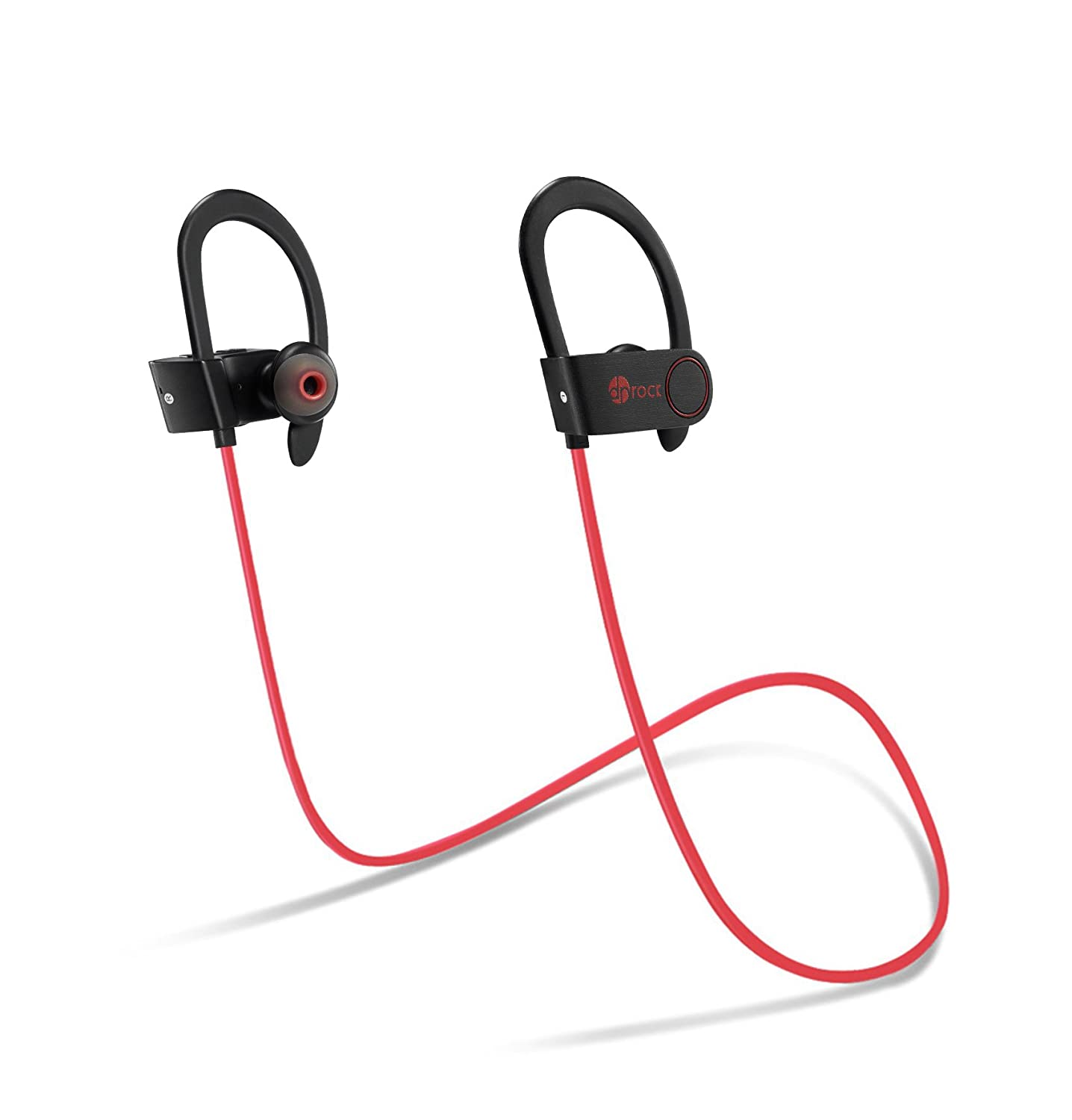 Bluetooth Headphones Wireless, DR ROCK in-Ear Earbuds w Mic Hands-Free Over-Ear Hook Headset Sweatproof Stereo Sports Earphone for Gym Running Workout Noise Cancelling