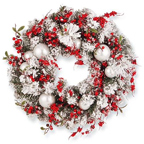 (National Tree 24 Inch Christmas Wreath with Red and White Ornaments)