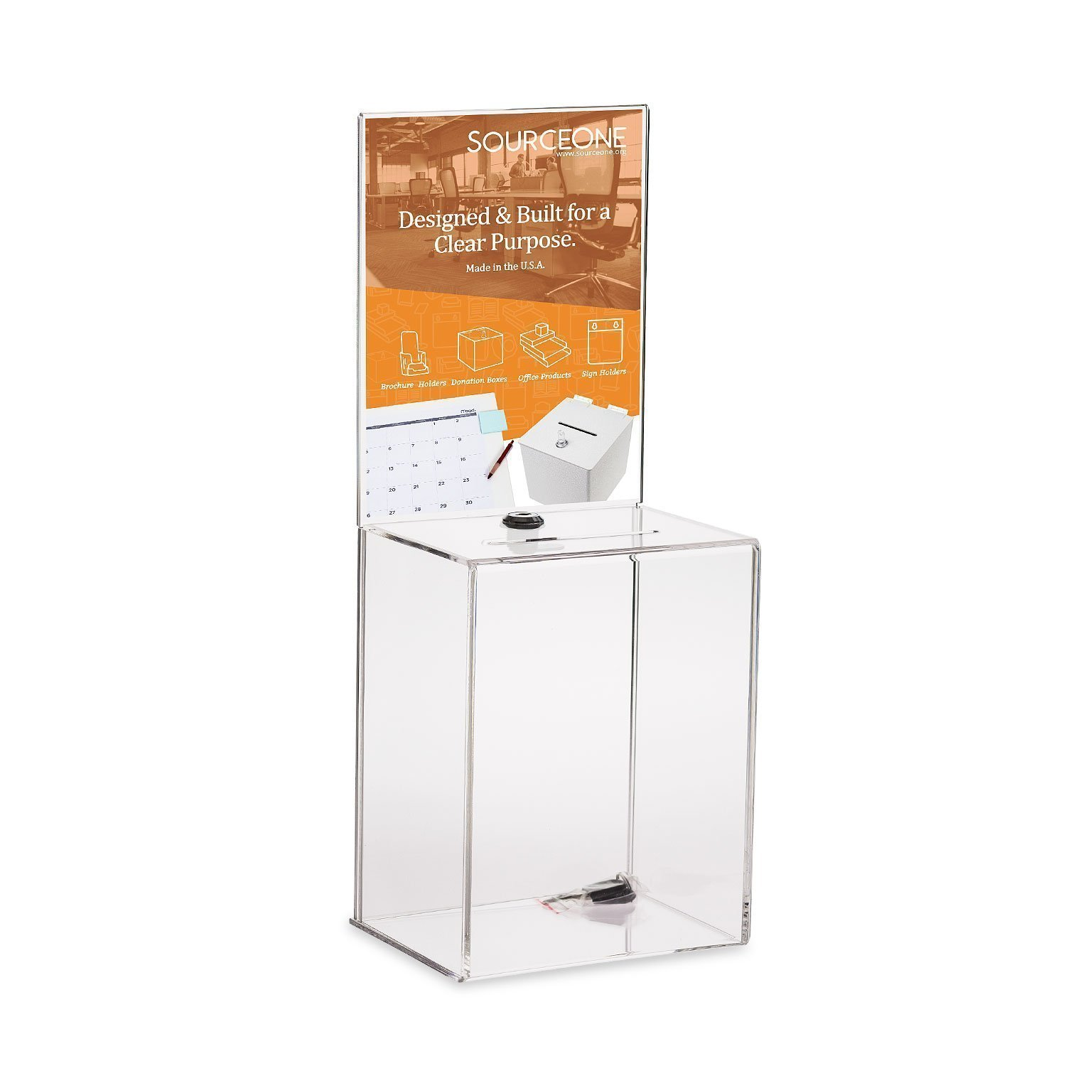 Source One Premium Tall Donation Box for Charity with 6.75″ x 8.5″ Sign Holder Available in Multiple Colors (1 Pack, Clear)