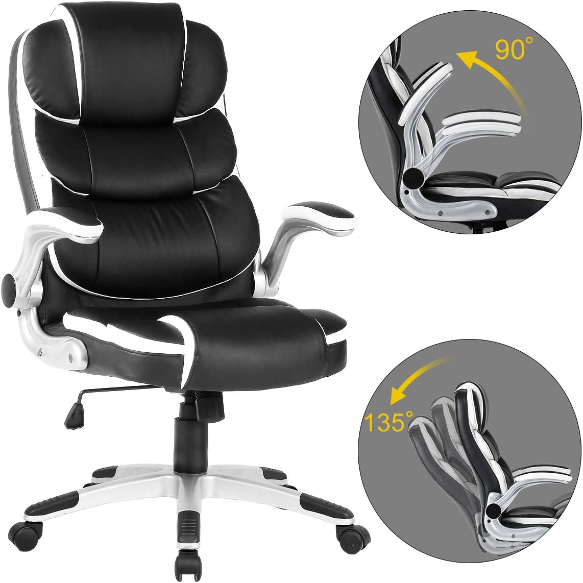 YAMASORO Leather Ergonomic Executive Office Chair Adjustable Tilt Angle High Back Executive Computer Desk Chair Black