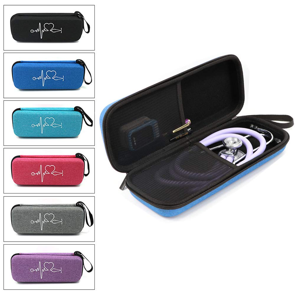 MASiKEN Hard Case for 3M Littmann Classic III, Lightweight II S.E, Cardiology IV Diagnostic, MDF Acoustica Deluxe Stethascopes, Mesh Pocket for Taylor Percussion Reflex Hammer Nurse Accessories