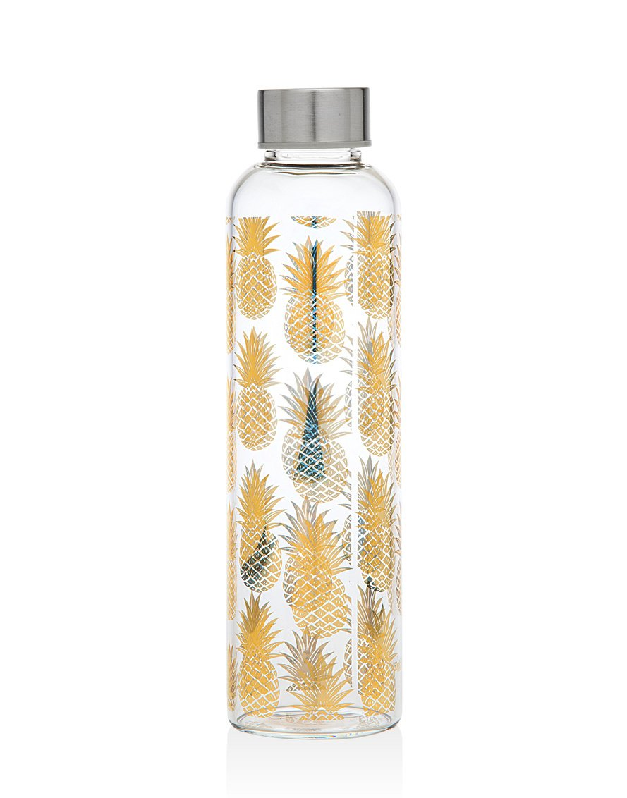 Godinger 20 Oz. Glass Pineapple Water Bottle for Beverage and Juice, Stainless Steel Leak Proof Cap SALE ITEM