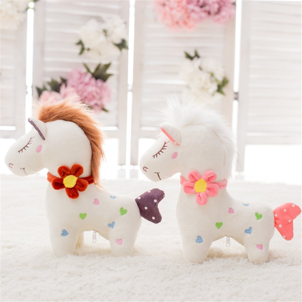 Couple 30cm 36  Huge White Standing Horse Toys Stuffed Animal Horse with Red Flower Doll Gift for Toddlers