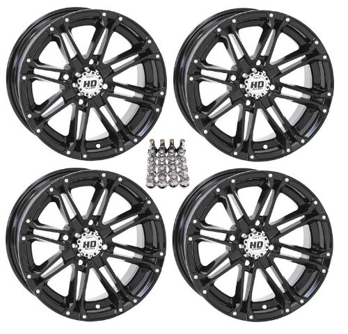 STI HD3 ATV Wheels/Rims Black 12″ Honda Rincon Yamaha Rhino Kawasaki Brute Force Suzuki KingQuad (4)