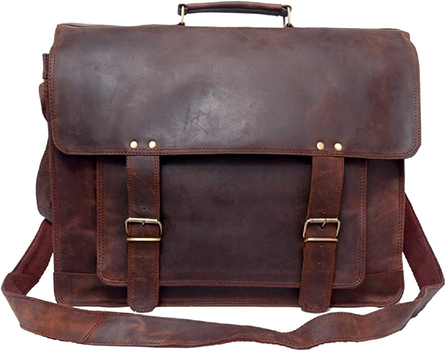 5daf7a91a42c Touch of Leather 16 Inch Retro Buffalo Hunter Vintage Leather Laptop  Messenger Bag Office Briefcase College