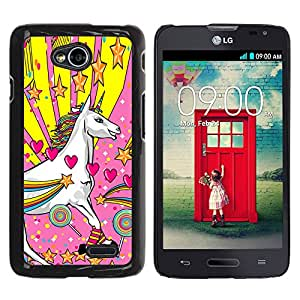 Paccase / SLIM PC / Aliminium Casa Carcasa Funda Case Cover para - Popular Unicorn Dreamworld Colorful Art White Heart Star - LG Optimus L70 / LS620 / D325 / MS323