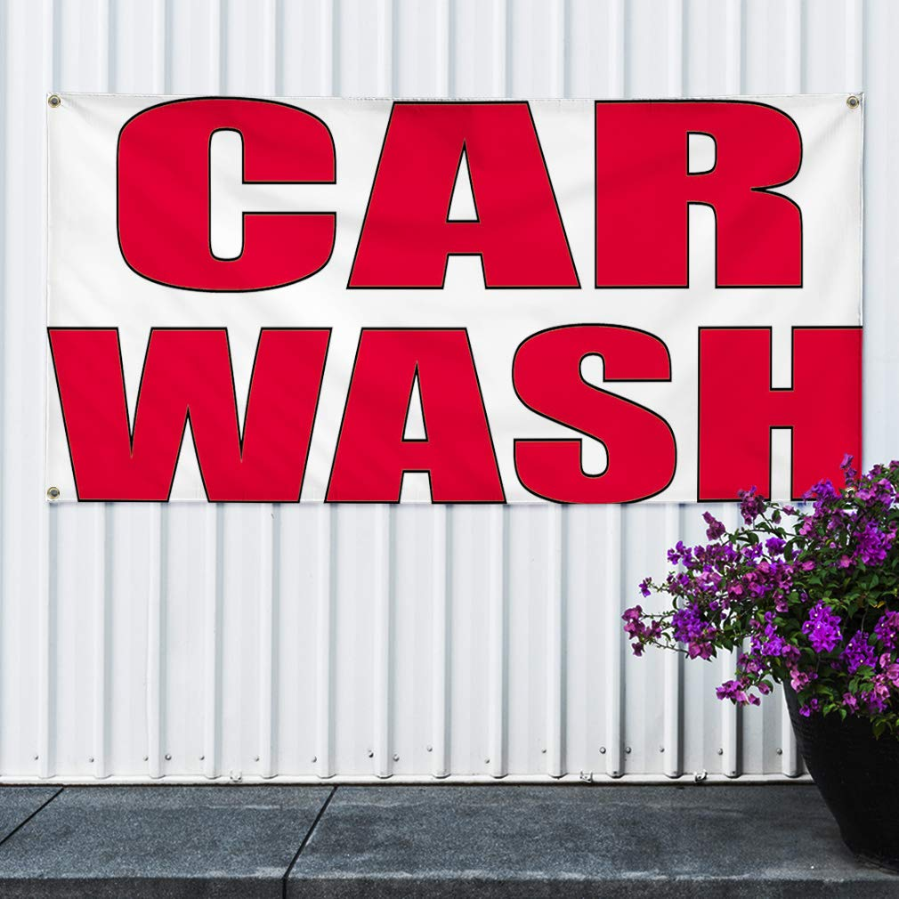 Vinyl Banner Sign Car Wash #2 Automotive Car Outdoor Marketing Advertising White 4 Grommets 28inx70in Multiple Sizes Available Set of 2