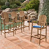 Great Deal Furniture Malibu Outdoor Natural Stained Acacia Wood Adirondack Barstools (Set of 4) Review