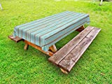 Lunarable Wood Print Outdoor Tablecloth, Old Fashioned Weathered Rustic Planks Summer Cottage Beach Coastal Theme, Decorative Washable Picnic Table Cloth, 58 X 84 Inches, Pale Blue Tan