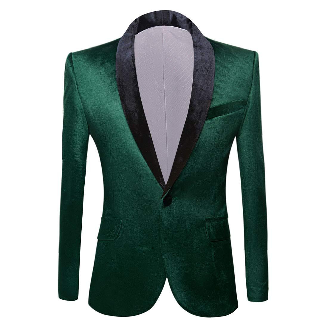 PYJTRL Mens Fashion Velvet Suit Jacket Slim Fit Blazers (Green, US 38R) by PYJTRL