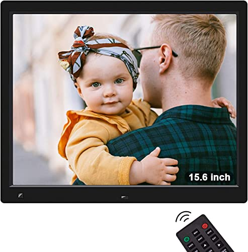 Digital Picture Frame, Jimwey 15.6 Inch Full HD IPS Screen Digital Photo Frame with Motion Sensor, Support Video Music Video USB Drive SD Card, Suitable as a Gift for Elders, Students, Friends