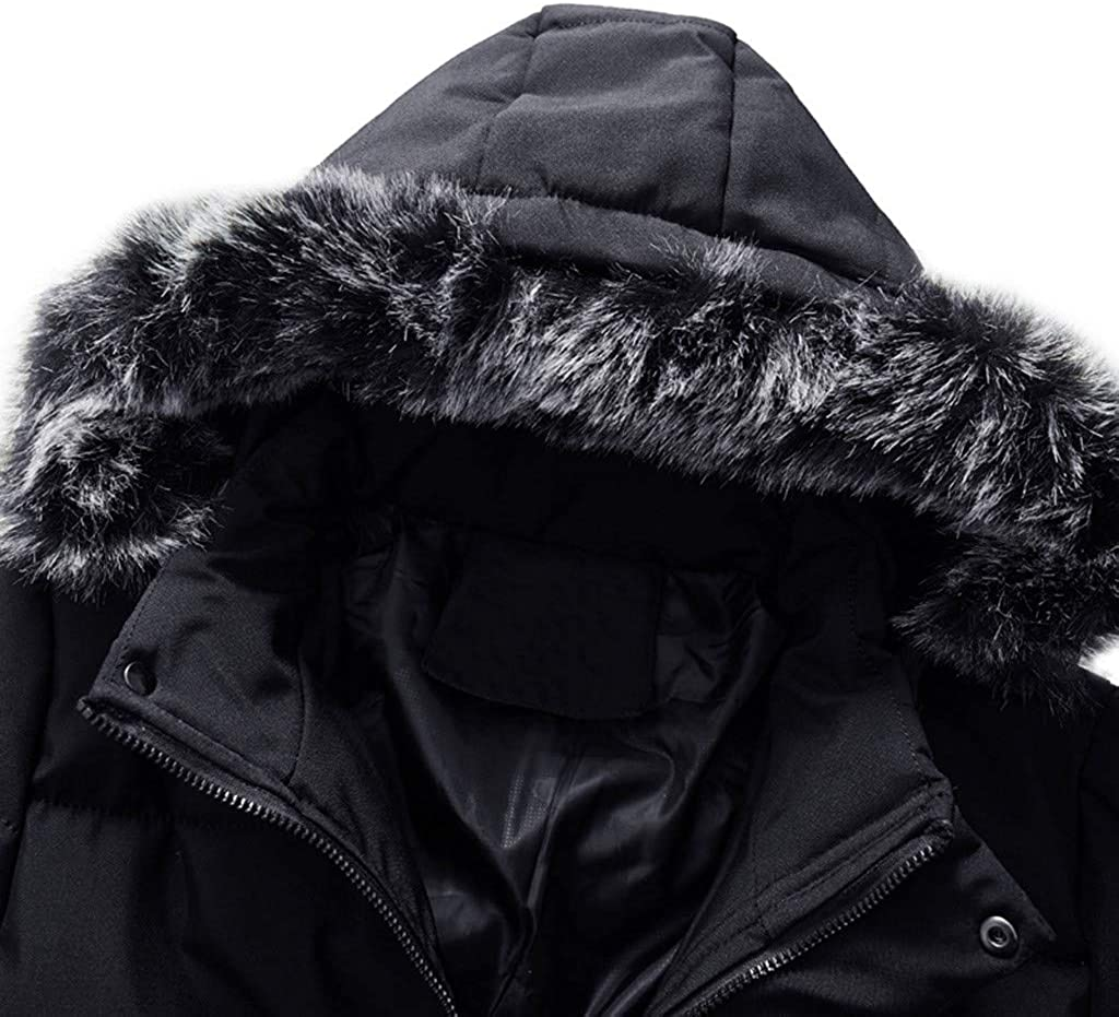 Colmkley Men Thickened Jacket Hooded Outwear with Detachable Collar Winter Coats