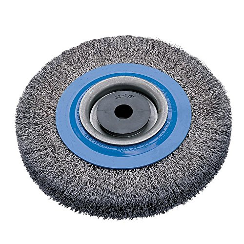 Walter 13B160 Stringer Bead Wheel Brush - 6 in. Blue Abrasive Wheel Brush with Crimped Wire for Deburring. Surface Preparation Tool
