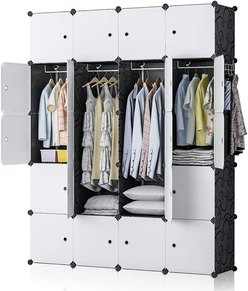 YOZO Armoire Wardrobe Portable Closet Clothes Cube Storage Pantry Cabinet Organizer Dresser Bedroom Garment Rack Polyresin Cubby Shelving Unit Multifunction Cabinet DIY Furniture, Black, 20 Cubes