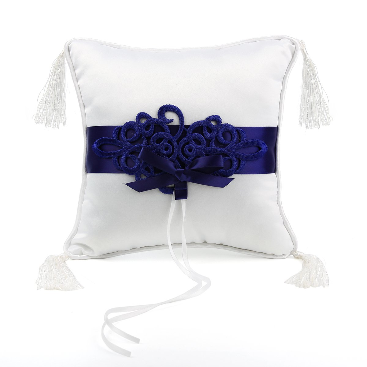 KateMelon Navy Blue Embroidery Wedding Ring Pillow 7.8 Inch x 7.8 Inch by KateMelon