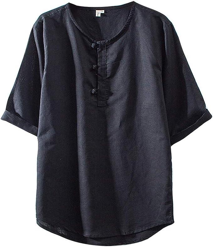 Jumaocio Mens Linen Short Sleeve Henley Shirts Cotton Linen Solid Color