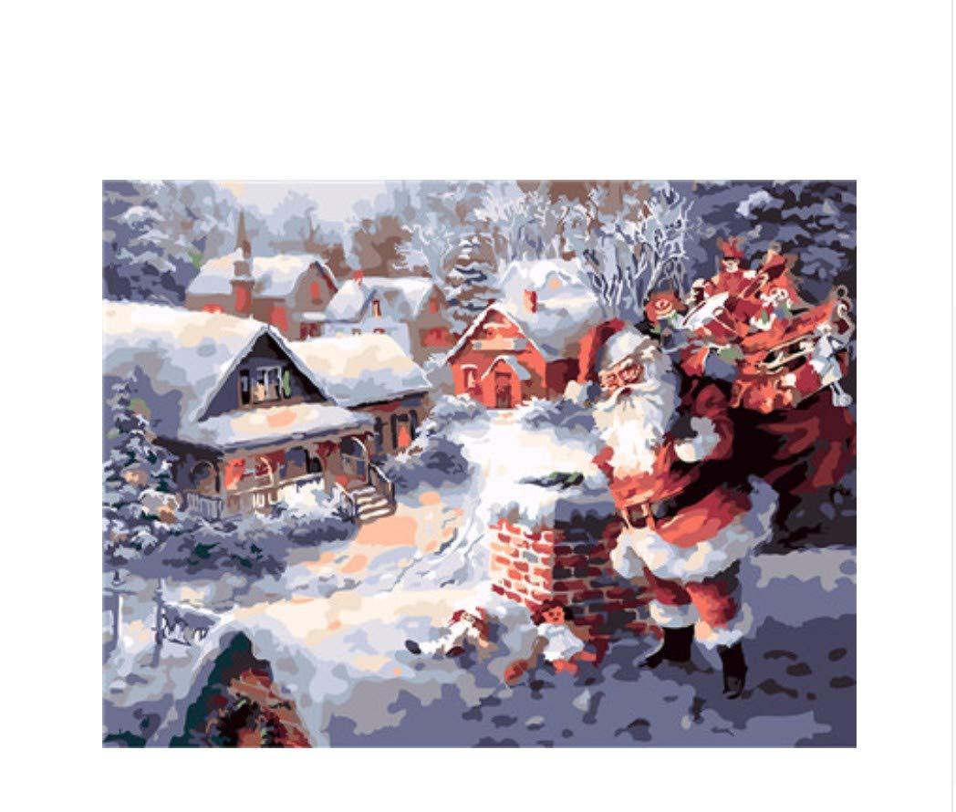 XIGZI Weihnachtsmann Und Geschenk Frohe Weihnachten Ölgemälde Bild Nach Zahlen Modul Bild Färbung Von Hand Einzigartiges Geschenk Dekoration 40X50 cm,Mit Holzrahmen,D B07MWBBRC5 | Qualität und Verbraucher an erster Stelle