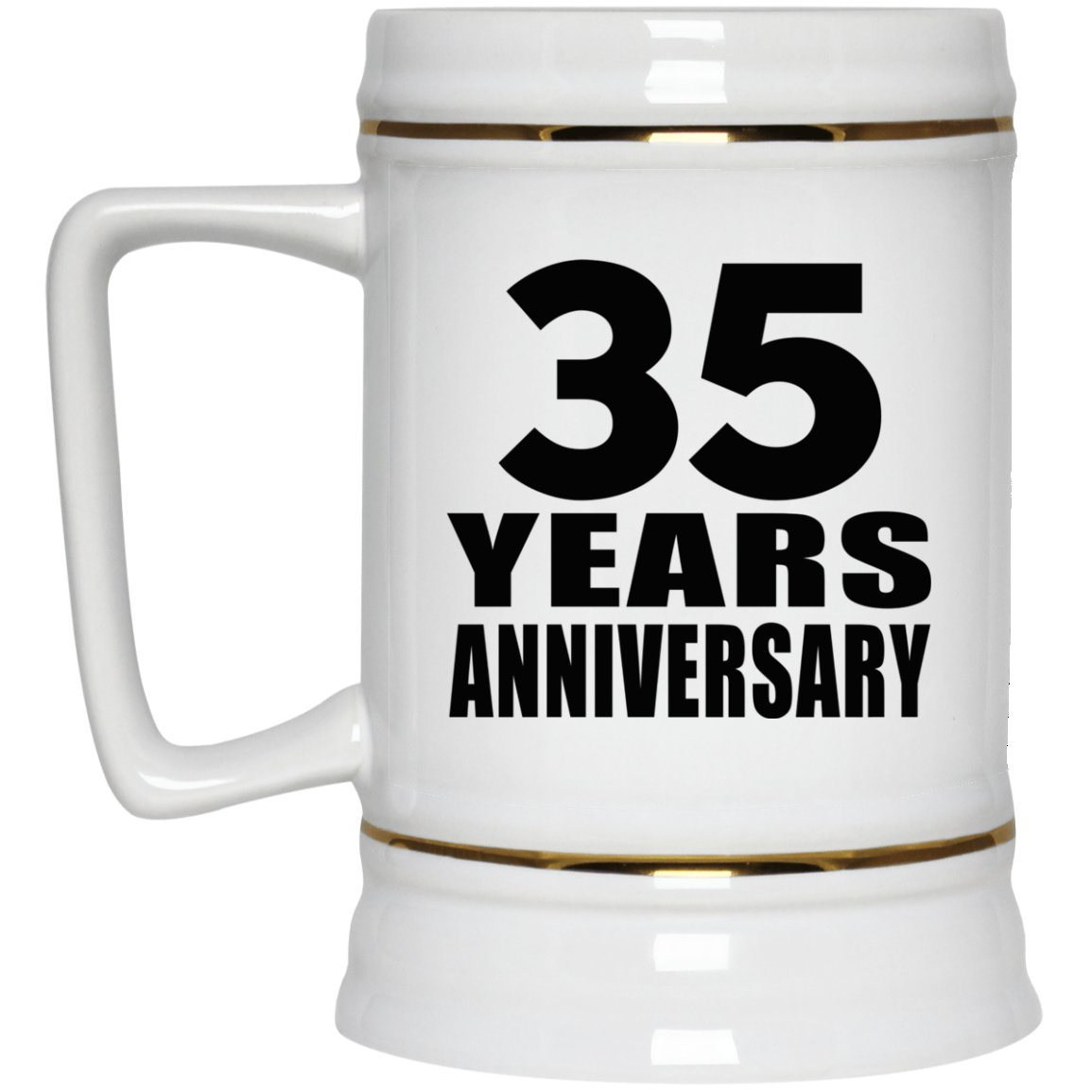 22oz Beer Stein Ceramic Bar Mug Tankard High Quality 35th Anniversary 35 Years Gift for Wife Husband Wo-Men Her Him Wedding Mother/'s Father/'s Day Birthday Anniversary