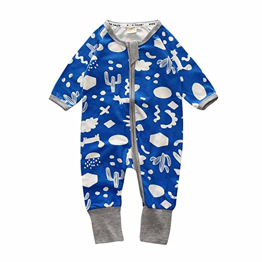 da7320a134 Baby Boys Girls Sleepwear Autumn Long Sleeve Bamboo Print Zipper Romper Blue