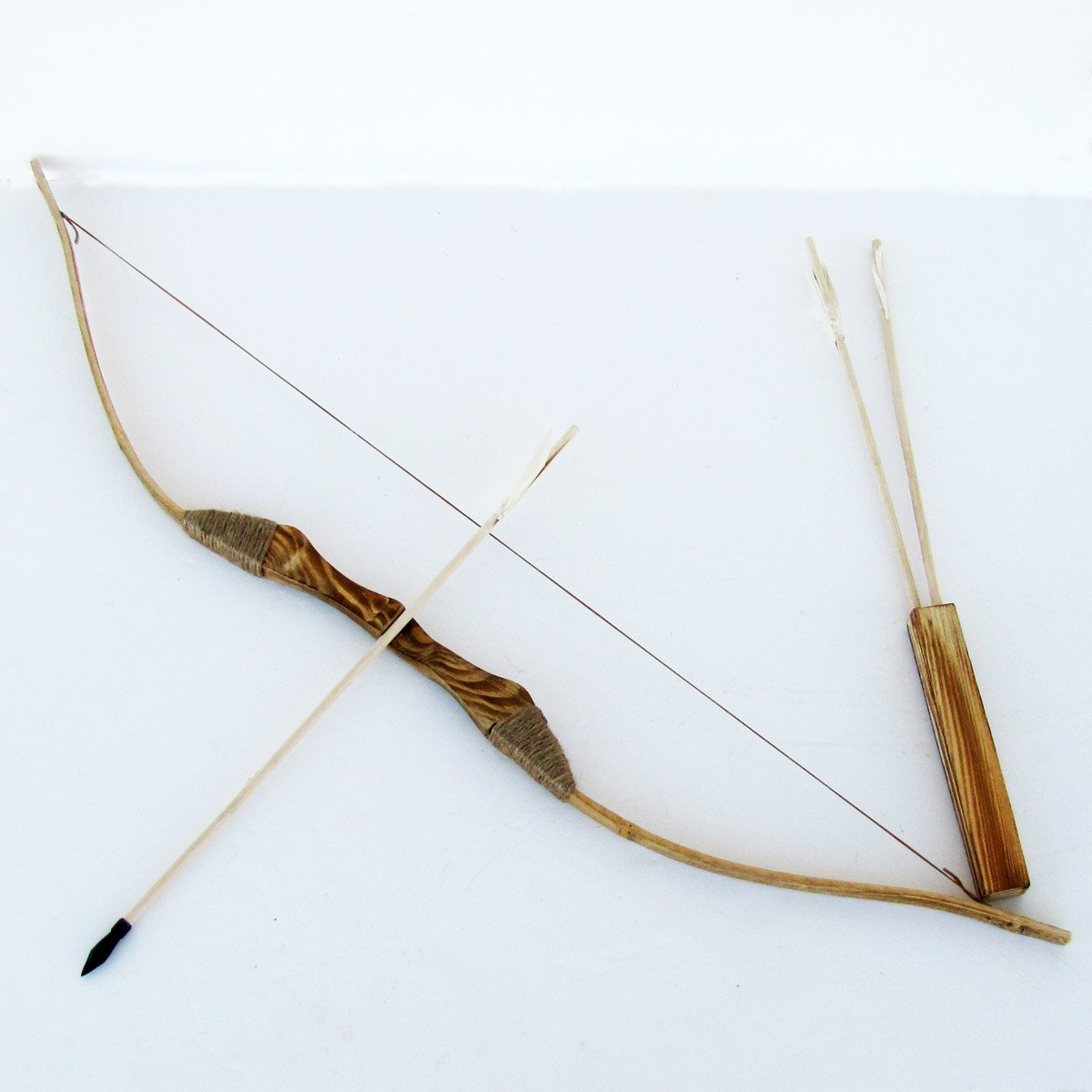 Youth Wooden Bow and Arrows with Quiver and Set of 3 Arrows by WOODEN SHOP