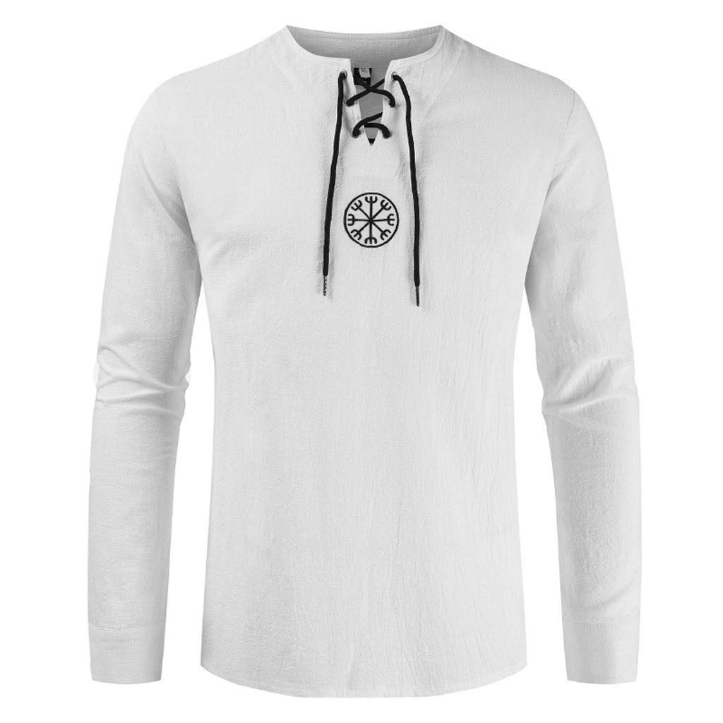 Mens Baggy Cross Tie Tee Casual Round Collar Drawstring Long Sleeve Button Retro Solid T Shirts Tops Blouse M-4XL