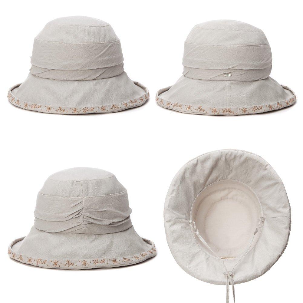 Siggi Womens UPF50 Cotton Packable Sun Hats w// Chin Cord Wide Brim