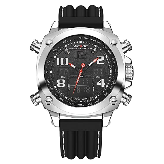 Marca Weide reloj analógico Digital pantalla LCD FECHA DÍA CRONÓMETRO alarma negro rojo doble movimiento reloj