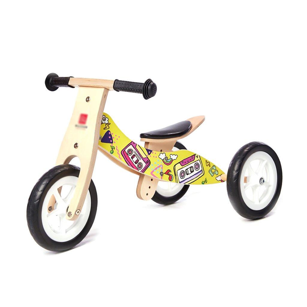 バランスの車はペダルなしで子供のスクーターを膨らませる必要はありません赤ちゃんのスクーターバギー子供二重ホイール自転車三ラウンド木1-3歳 B07F5BMMBNA