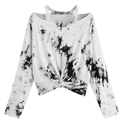 Fanteecy Women's Casual Floral Rose Print Long Sleeve Crop Tops Teen Girls Tops Sweatshirt Blouse Shirts at Women's Clothing store
