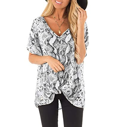 812b3635f2a YESOT Sexy Women's Chiffon Snake Short Sleeve V-Neck Print Fashion T-Shirt  Casual