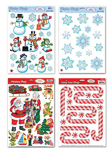 Christmas Window Cling Decorations - 4 Large Sheet Sets Featuring Santa, Snowmen, Snowflakes, Candy Canes and More