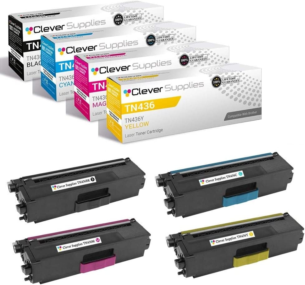Clever Supplies Compatible Toner Cartridges Replacement for Brother TN436 TN-436 TN436BK TN436C TN436M TN436Y HL-L8360CDW L9310CDW MFC-L8900CDW L9570CDW 4 Color Set