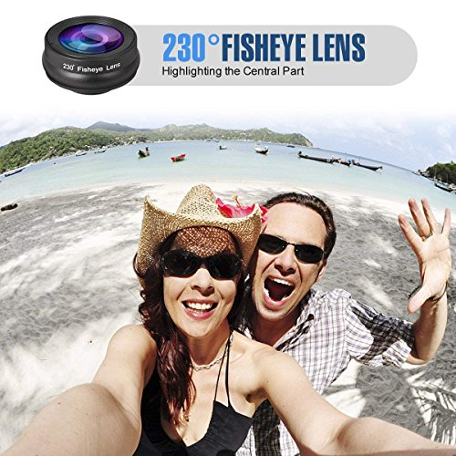 Phone Camera Lens,3 in 1 Phone Lens,0.36X Super Wide Angle Lens+15X Macro Lens+230°Fisheye Lens 3 in 1 HD Cell Phone Camera Lens Kit for iPhone X/8/8Plus/7/7 Plus/6s/6/5, Samsung and Most Smartphones by ChenChung Direct (Image #3)