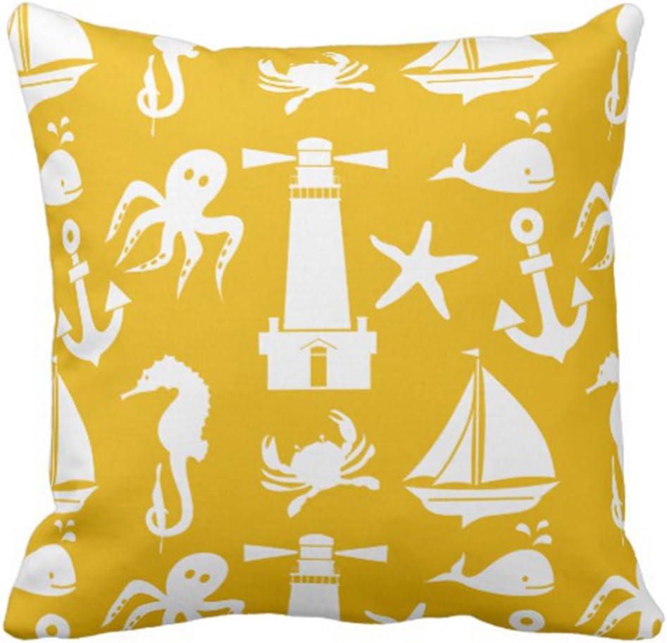 Beach Huts Nautical Seaside Coastal Handmade Cushion Cover White Red Blue16 inch