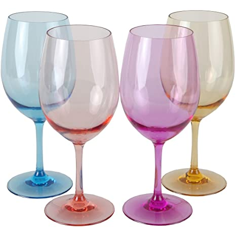 bfb34abe2cc Lily's Home Unbreakable Acrylic Wine Glasses, Made of Shatterproof Tritan  Plastic and Ideal for Indoor and Outdoor Use, Reusable. Mixed Colors -  Light ...