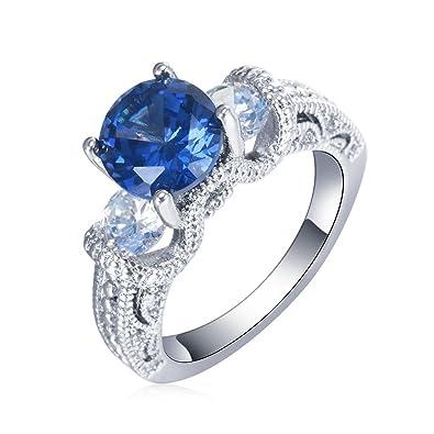 Amazon Com Psezy Oval Sapphire Rings For Women Engagement Wedding