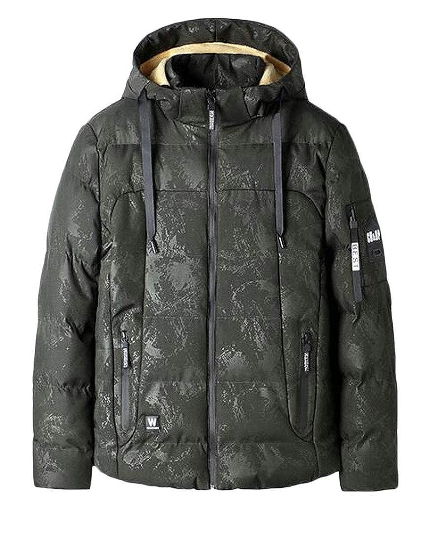 Hajotrawa Mens Camo Winter Zip-Front Lined Hooded Overcoat Parka Jackets