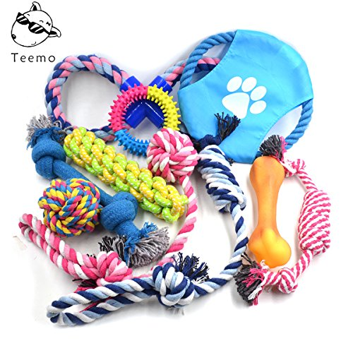 TEEMO Dog Toys 10 Pack Gift Set, Puppy Chew Toys for for Playtime and Teeth Cleaning,Assortment for Medim to Small Breeds ()