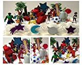 Big Hero 6 Birthday Cake Topper 26 Piece Set Featuring Hiro Hamada, Baymax, Go Go Tomago, Honey Lemon, Wasabi and Fred, Big Hero 6 Super Hero Characters and Other Decorative Themed Accessories - Cake Topper Set Includes All Items Pictured